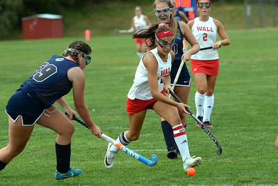 #16, Lynne Walenjus of the Wall High School Girl's Varsity Field Hockey Team works the ball towards the Manasquan High School goal in their game played in Wall Township, NJ on 09/05/2019. (STEVE WEXLER/THE COAST STAR).