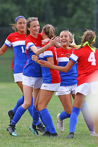 Izabella Aravich celebrates her first half goal with team mates as Wall Township High School hosted Freehold Borough in a girls varsity soccer match on Thursday Sept. 5, 2019  (MARK R. SULLIVAN THE COAST STAR)