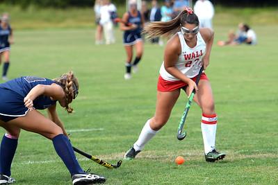 #23, Megan Surgent of the Wall High School Girl's Varsity Field Hockey Team works the ball towards the Manasquan High School goal in their game played at Wall High School, Wall Township, NJ on 09/05/2019. (STEVE WEXLER/THE COAST STAR).