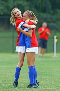 Izabella Aravich celebrates her first half goal with team mate Erin Carr as Wall Township High School hosted Freehold Borough in a girls varsity soccer match on Thursday Sept. 5, 2019  (MARK R. SULLIVAN THE COAST STAR)