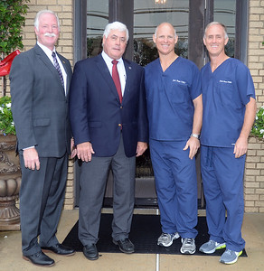 WALL ALL IN THE FAMILY DENTAL CARE 85TH ANNIVERSARY WALL TOWNSHIP DEPUTY MAYOR KEVIN ORENDER, NEW JERSEY STATE ASSEMBLYMAN EDWARD THOMSON, DR JACK CAMPI, AND DR JOE CAMPI. 09/10/2018. (STEVE WEXLER/THE COAST STAR).