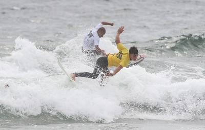 Nick Rutkowski in front of Blaine Fischer (both from NJ0. Belmar Pro Surf Contest : Day One, Heats 1-8 of the Fins Pro Mens Open in Belmar, NJ on 9/7/18. [DANIELLA HEMINGHAUS | NIGHT & DAY MAGAZINE}