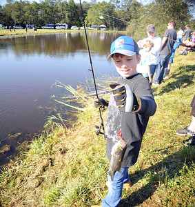 RYAN WARD JR OF ALLENWOOD, NEW JERSEY LANDED SEVERAL FISH DURING THE WALL KIDS FISHING DERBY HELD IN WALL, NEW JERSEY ON 09/29/2018. (STEVE WEXLER/THE COAST STAR).
