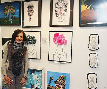brielle library happy appys// JoAnne Lancelloth with the Gateway School in Carteret NJ and the Art that was made by students and teaches