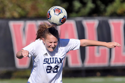 Rainie Montes from Manasquan gets her head on the ball as Wall Township High School hosted Manasquan High School during the Girls 2018 NJSIAA Central, Group 2 Tournament held in Wall Township on Tuesday October 30, 2018. (MARK R. SULLIVAN/THE COAST STAR)