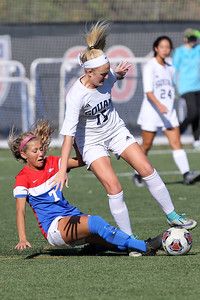 Remi Reinhardt (left) from Wall battles with Manasquan's Abigail O'Shea as Wall Township High School hosted Manasquan High School during the Girls 2018 NJSIAA Central, Group 2 Tournament held in Wall Township on Tuesday October 30, 2018. (MARK R. SULLIVAN/THE COAST STAR)