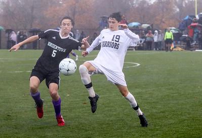 no.19, Frank Manno. Manasquan High School boys soccer v/s Bordentown Regional in Bordentown,NJ on 11/5/18. [DANIELLA HEMINGHAUS | THE COAST STAR]