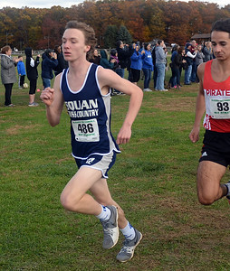MALE RUNNER FROM MANASQUAN HIGH SCHOOL AT NJSIAA XCOUNTRY SECTIONAL MEET IN MONROE, NEW JERSEY ON 11/03/2018. (STEVE WEXLER/THE COAST STAR).