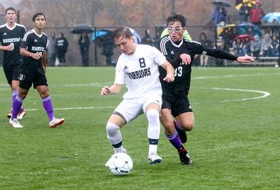 no.8, Tyler Guagenty Manasquan High School boys soccer v/s Bordentown Regional in Bordentown,NJ on 11/5/18. [DANIELLA HEMINGHAUS | THE COAST STAR]