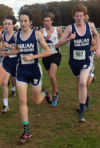 MANASQUAN HIGH SCHOOL MALE RUNNERS AT THE NJSIAA SECTIONAL MEET IN MONROE TOWNSHIP, NEW JERSEY ON 11/03/2018. (STEVE WEXLER/THE COAST STAR).