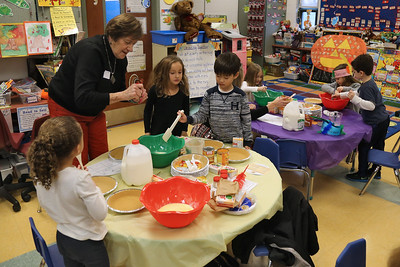 Kindergarten students and their parents were on hand at Spring Lake Elementary School for a Thanksgiving no bake pumpkin pies on Thursday November 20,2018. (MARK R. SULLIVAN/THE COAST STAR)
