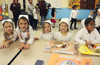 avon thanksgiving feast// first graders : L to R: Maeve Child, Olivia Boyle, Emma Szczepaniak, Makayla Ahearn and Chaira Dickerson