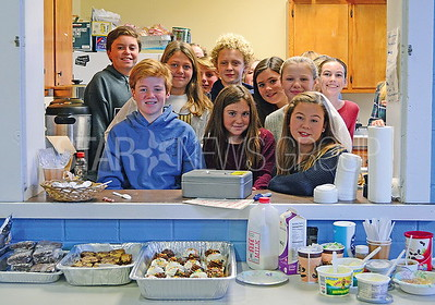 the 7th graders working the kitchen