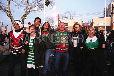 BB Tree Lighting// L to R: Michael Donato Bradley Beach. Kathleen Carrol Bradley Beach. Doug Jung Bradley Beach. Deborah Larusso Ocean Twnhsp. Fred Elston Asbury. Lynn and Robert Bogossian Bradley Beach and Julie Nutaitis Bradley Beach who hosts and Ugly Sweater party before the tree lighting