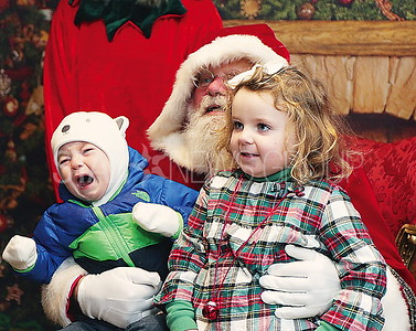 BB Tree Lighting//  Santa (BB Fireman Joseph Applegate) Kevin O'Brien 1 and Ellie O'Brien 3 of Avon