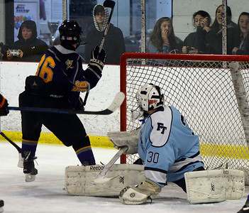 #36, DECLAN OF THE ST BROSE HIGH SCHOOL VARSITY ICE HOCKEY TEAM SCORES A GOAL LATE IN THE GAME AGAINST FREEHOLD TOWNSHIP HIGH SCHOOL ON 11/26/2018. (STEVE WEXLER/THE COAST STAR).