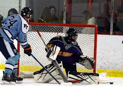 ST RTOSE HIGH SCHOOL VARSITY ICE HOCKEY GOALIE GRIIGS #31 DEFLECTS A FREEHOLD TOWNSHIP SHOT IN THE GAME PLAYED ON 11/26/2018. (STEVE WEXLER/THE COAST STAR).