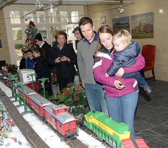 THE GILLESSEN FAMILY, SEAN, NICOLE, AND PATRICK WERE VISITORS TO THE ANNUAL CHRISTMAS VILLAGE AND MODEL TRAIN DISPLAY AT DUGGAN HAQLL IN. SPRING LAKE, NEW JERSEY ON 11/24/2018. (STEVE WEXLER/THE COAST STAR).