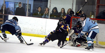 #38, JACK KLUNK OF THE ST ROSE VARSITY ICE HOCKEY TEAM GOES TO BLOCK A SHOT BY A FREEHOLD TOWNSHIP HIGH SCHOOL PLAYER DURING THEIR GAME PLAYED AT THE HOWELL ICE HOCKEY ARENA ON 11/26/2018. (STEVE WEXLER/THE COAST STAR).
