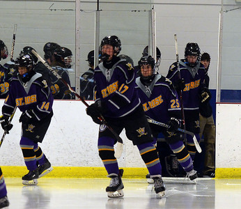 THE ST ROSE HIGH SCHOOL VARSITY ICE HOCKEY TEAM TAKES TO THE ICE IN THEIR GAME AGAINST FREEHOLD TOWNSHIP HIGH SCHOOL ON 11/26/2018. (STEVE WEXLER/THE COAST STAR).