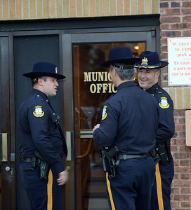 Officers of the Brielle Boro Police Department, Brielle, New Jersey gathered at headquarters to honor Chief Michael Palmer on his last day of work after 38 years of service on 11/30/2018. (STEVE WEXLER/THE COAST STAR).