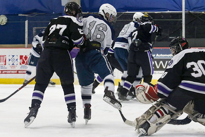 no.16, Matt Franzoni on goal. Manasquan v/s Rumson-Fair Haven hockey in Wall, NJ on 12/5/18. [DANIELLA HEMINGHAUS | THE COAST STAR]