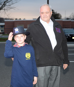 Kevin Scott, 8 year old Grandson of Brielle Boro Chief of Police, Michael Palmer was on hand to honor his Grandfather's last day on the job as Chief Palmer retired after 38 years of service on 11/30/2018. (STEVE WEXLER/THE COAST STAR).