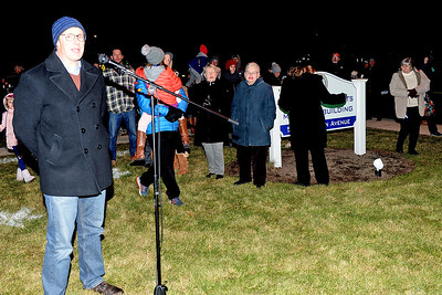 Spring Lake Heights Boro Mayor Tom O'Brien led the crowd at the Tree Lighting Ceremony in the countdown at Boro Hall in Spring Lake Heights Boro, New Jersey on 12/06/2018. (STEVE WEXLER/THE COAST STAR).