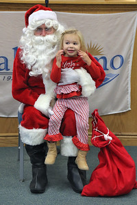 Kinsley D'Antuono of Lake Como reacts as Santa Claus makes a surprise visit to the Lake Como Mommy & Me class held at Lake Como Municipal building on Wednesday December 19,2018. (MARK R. SULLIVAN /THE COAST STAR)