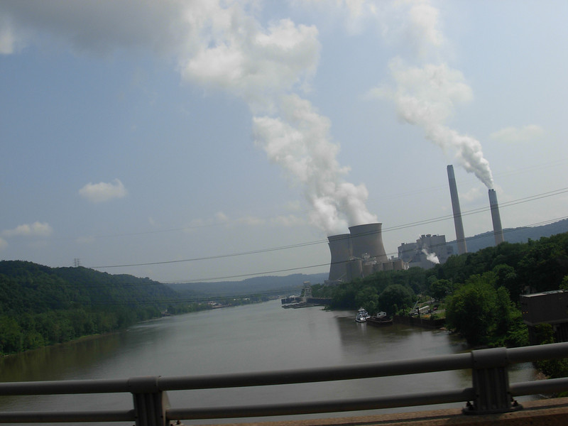 First Energy's Beaver Valley Nuclear Generating Station is located on Hwy 168 in Shippingport, PA.  This shot is looking back south at the plant which sits on the Ohio River.  Pittsburg is about 34 miles west of here.  We actually rode right through the middle of the plant next to the cooling towers.  They were massive!