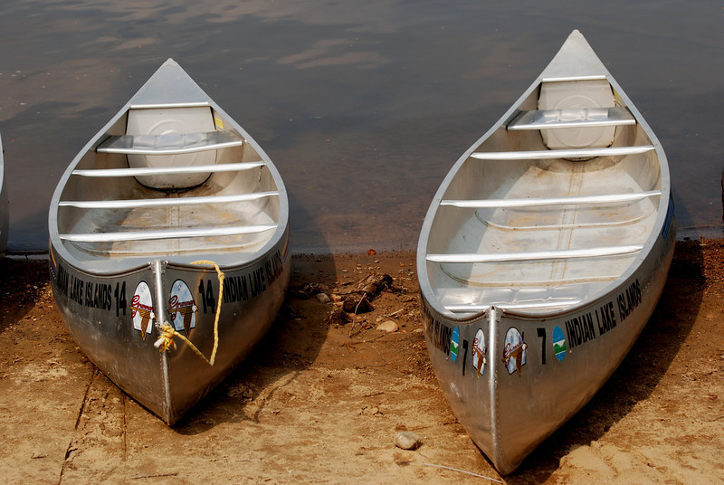 Canoes at Indian Lake in Upstate New York