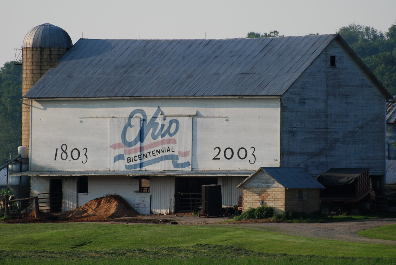 """No doubt barns were very a frequent sighting along our way.  Some took advantage of the large """"canvas"""" and added artwork in large variety.  This bicentennial artwork was on the side of many barns throughout Ohio and still looked good."""