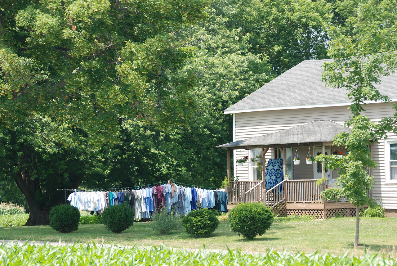It is obviously Monday and that means washday in Amish country.  The traditional quilt was just a bonus to seeing all the beautiful handmade clothing of the family hanging on the line to dry.  It was around noon when we came through and the laundry finished and on the line.