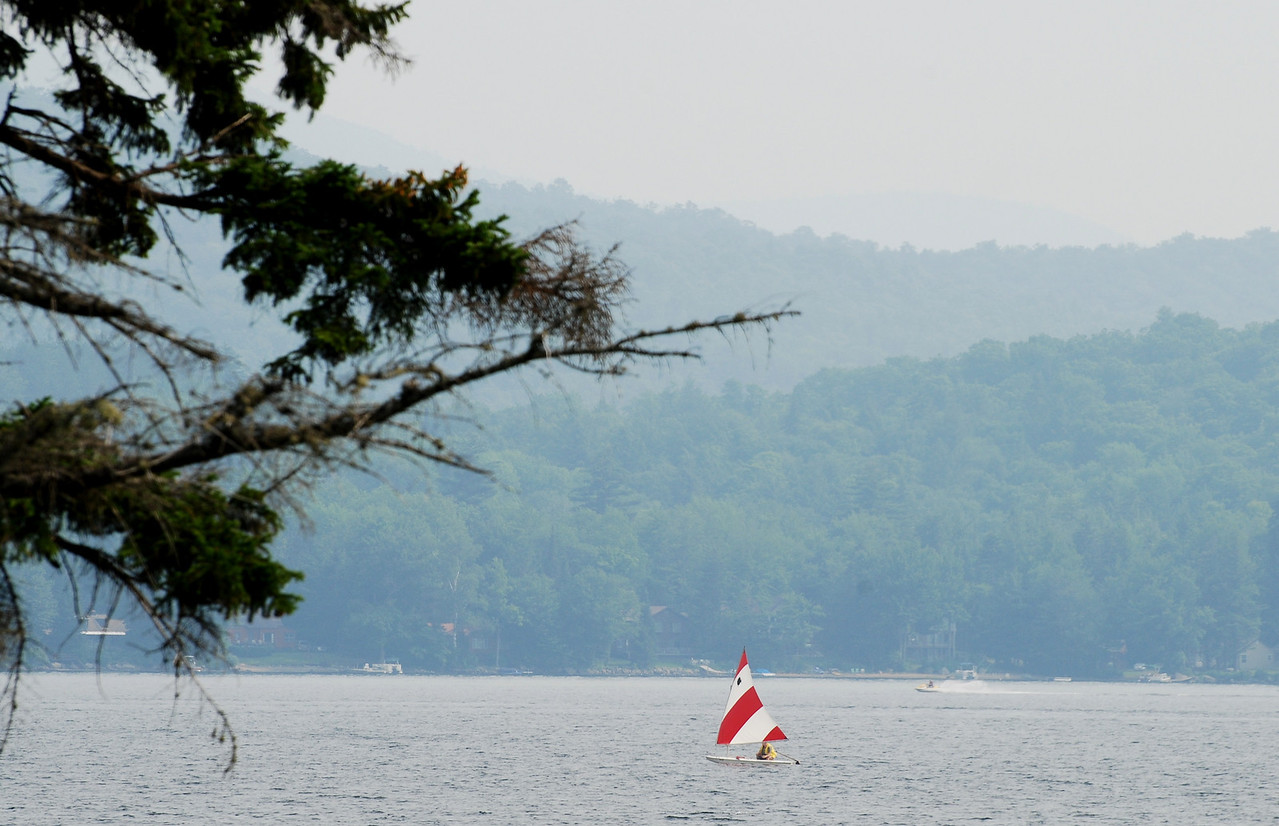 Red and White Sailboat II<br /> Indian Lake,NY