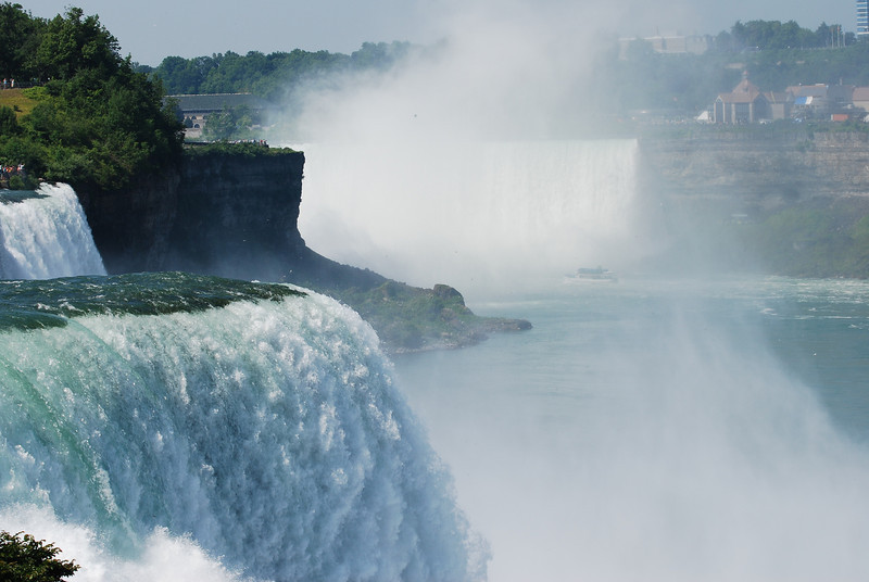 Known simply as the Falls , with the Horseshoe on the Canadian side and the American and Bridal Veil on the U.S. side, these raging cataracts serve as the conduit for shifting water from the four Upper Great Lakes to Lake Ontario and eventually out to the ocean. That's an awful lot of water, as the Great Lakes hold about 20 percent of the world's fresh supply of the precious liquid. The 2,600-foot wide Horseshoe Falls, for example, blast 600,000 gallons per second down their 170-foot face.  This is looking from the US toward Canada.