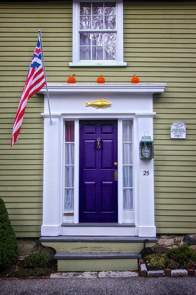 New England Architecture: Door on Colonial Era Homes Built for Richard Stevens, Ship Capt, 1757. Marblehead, Essex County, Massachusetts