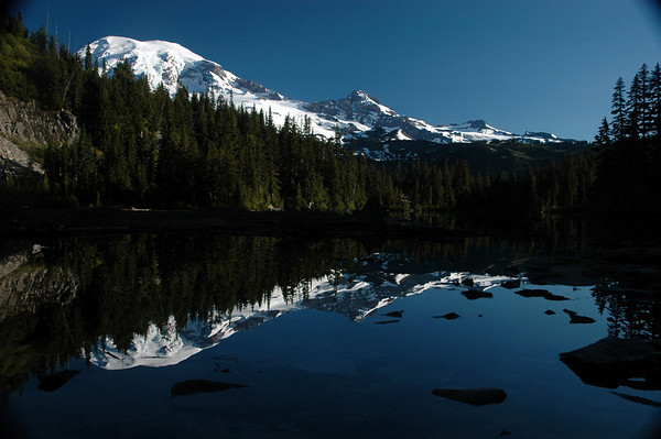 Mt. Rainier and Snow Lake. This is a great hike. It is 5 miles round trip and you get two see two nice lakes. The trail head is located near Paradise.