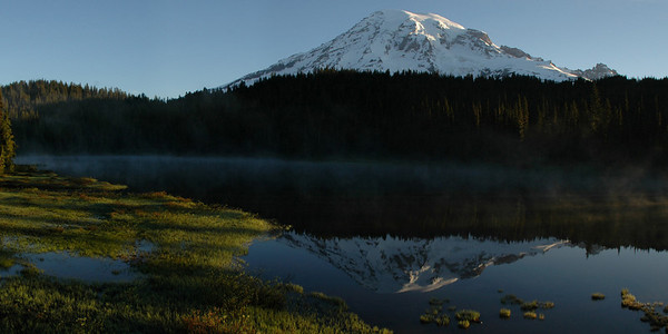 MT. Rainer and lower Reflection Lake.