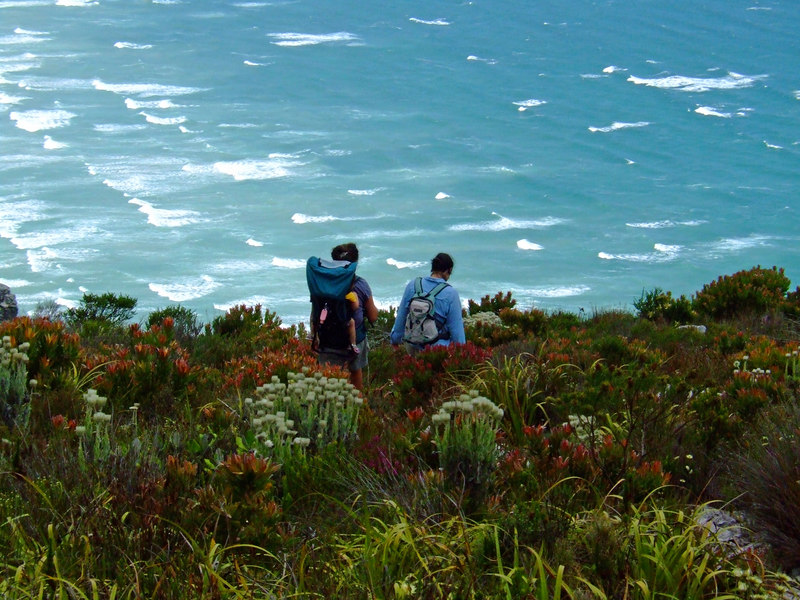 Leah, Kiri, and Liz hiking above the Indian Ocean. Cape Town, SA