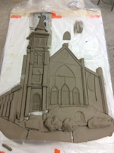 Carving the doors...