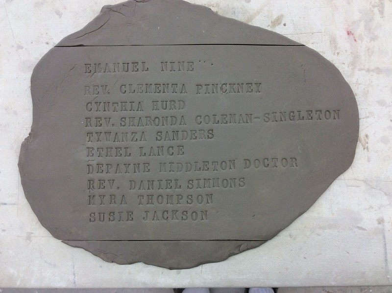 The names of the Emanuel 9. The first lettering study for the memorial.