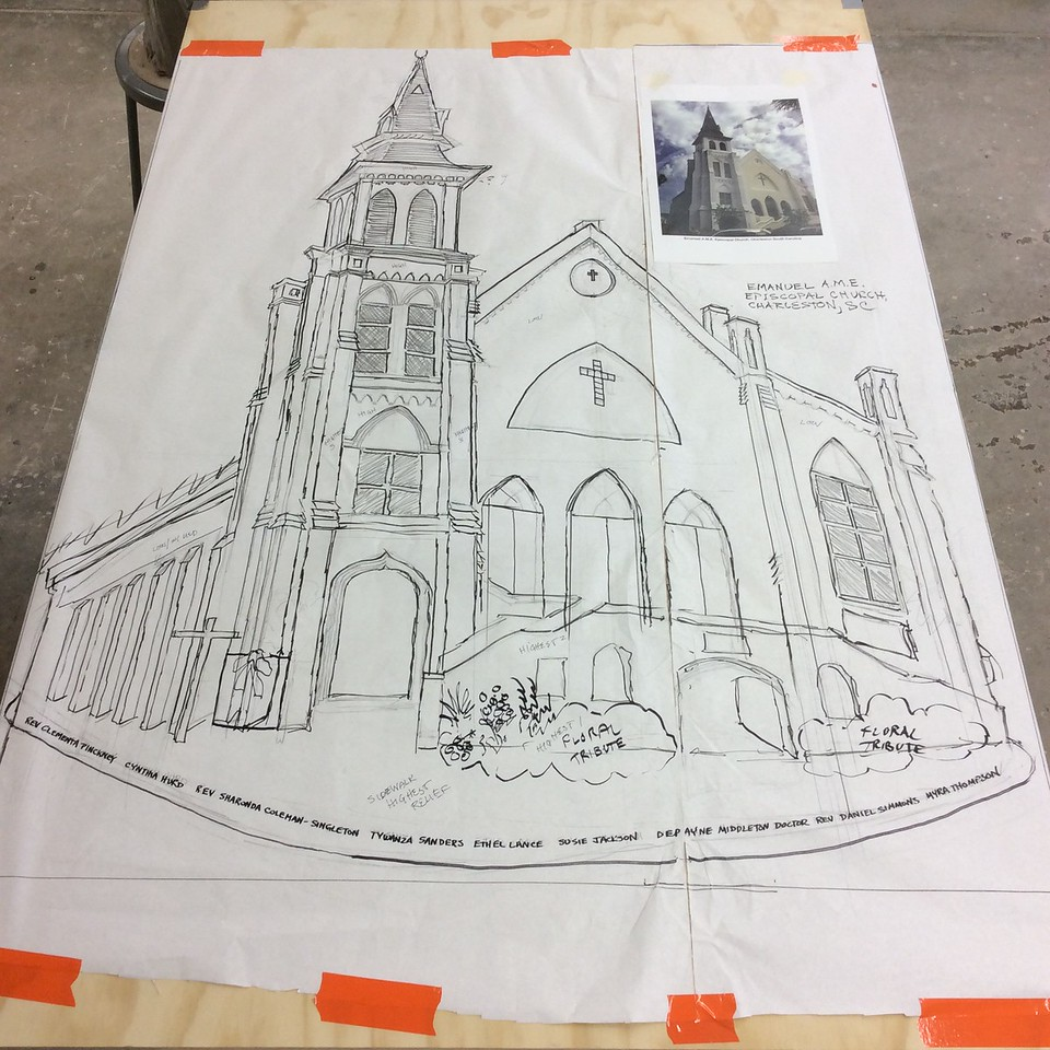 """Template drawing for Emanuel AME Church sculpture; 6'9"""" x 4'2"""""""