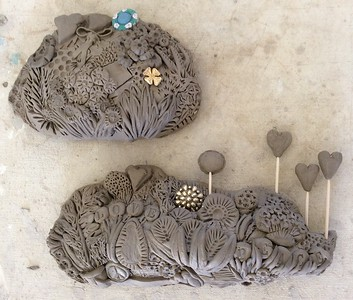 Clay renderings of floral tributes