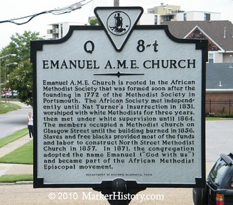 The historical marker for the Emanuel AME Church, Charleston