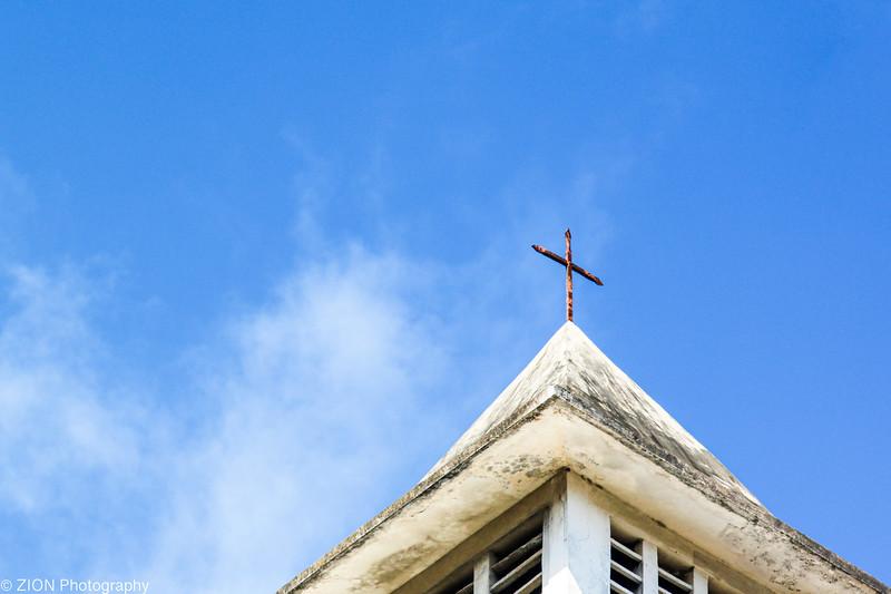 A Cross on top of a church in Jeremie, Haiti
