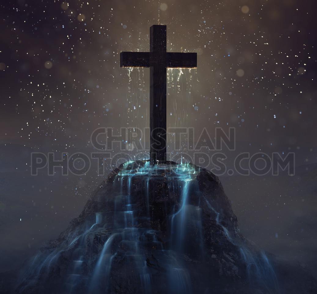 Cross with rain