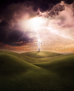 Cross and lightning