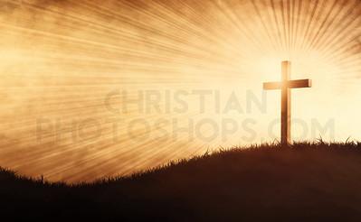 Grunge cross on a hill