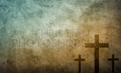 Three crosses on brown background