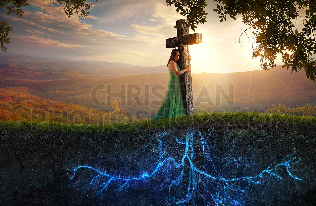 Cross and glowing roots